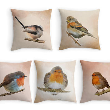 Garden Birds Throw Pillow, Bird Scatter Cushion, 16x16, Robin Pillow, Fine Art Cushion Cover, Bird Lover Gift