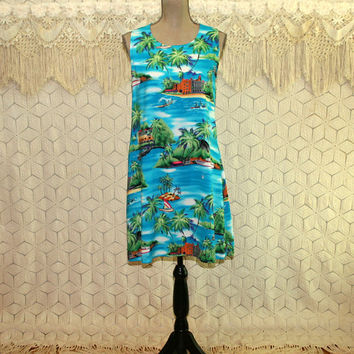 90s Hawaiian Dress Medium Petite Midi Sleeveless Summer Tropical Novelty Print Beach Palm Trees Boats Rayon Vintage Clothing Womens Clothing
