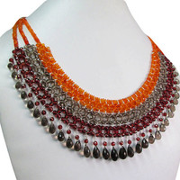 Orange Carnelian,Garnet & Smoky Quartz beaded necklace - Sterling Silver - Elegant handmade designer beads necklace
