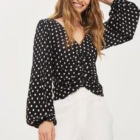 Spot Print Ruched Blouson Top - New In Fashion - New In
