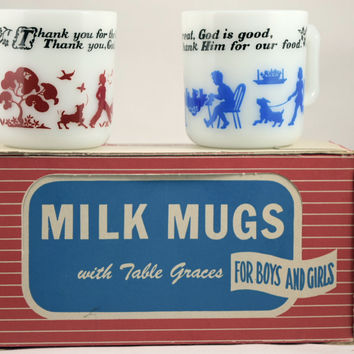 Hazel Atlas Children's Milk Mugs W/Table Graces (Original Box)