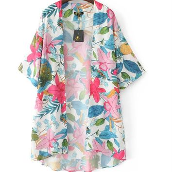 2018 Tropical Style Women's Batwing Sleeve Kimono Floral Printed Cardigan