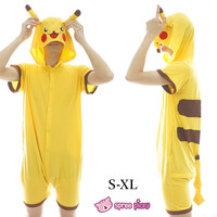 S-XL Unisex Yellow Pikachu Mascot Summer Onesuits Kigurumi Jumpersuit Nightwear Pajamas SP152037