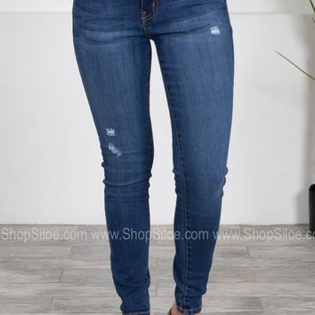 Destroyed Dark Skinny Denim