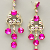 Royal Hafiz Pink Crystal Earrings