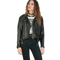 Vintage 70s Motorcycle Jacket - VentCouvert - Made in France - Vent Couvert Leather Jacket - Black Moto Jacket - Punk Goth Grunge - 1970s