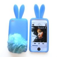Bunny Skin Case With Furry Tail for Apple iPod Touch 4th Generation, Baby Blue:Amazon:Electronics