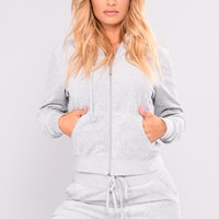 The Original Trendsetter Velour Jacket - Heather Grey