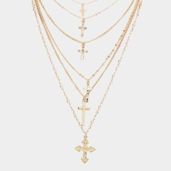 Multi Layered Metal Cross Pendant Necklace