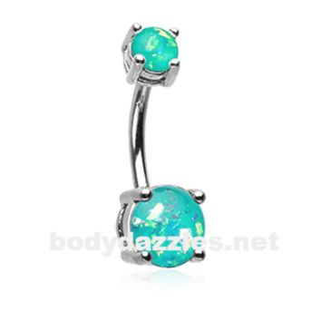Teal Opal Sparkle Prong Set 14ga Belly Button Ring Navel Ring Body Jewelry