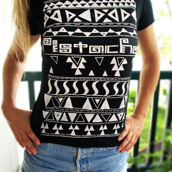AZTEC T SHIRT momens girls screen printed clothing folk art fabric mexican native american 80s 90s custom funny retro hip hop hipster top