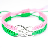 Pink and Green Infinity Bracelets