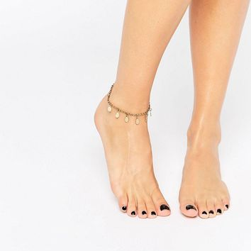 Pieces Disc Anklet at asos.com