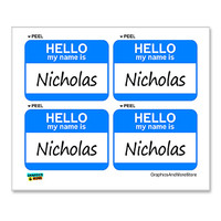 Nicholas Hello My Name Is - Sheet of 4 Stickers