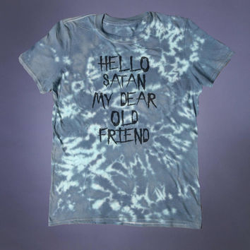 Satan Shirt Hello Satan My Dear Old Friend Slogan Tee Evil Devil Satanism Grunge Alternative Clothing Goth Acid Wash Tumblr T-shirt