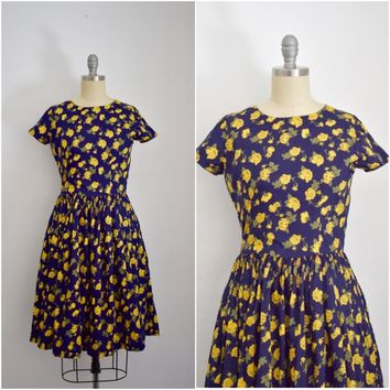 Hearts and Found Midnight Garden Navy Blue Dorthy Dress