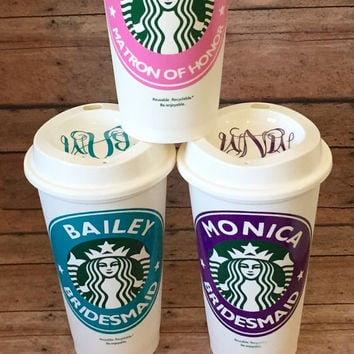 Bridesmaid Starbucks Cup, Maid of Honor, Matron of Honor,16oz, Personalized, Custom, Wedding, Gift, Gifts for Her, Reusable, Tumbler, Coffee