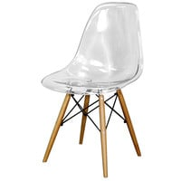 Allen Molded PC Chair Maple Dowel Legs, Transparent Crystal Clear (Set of 4)