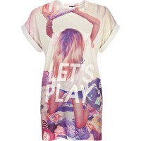 Cream let's play print oversized t-shirt - print t-shirts / vests - t shirts / vests / sweats - women