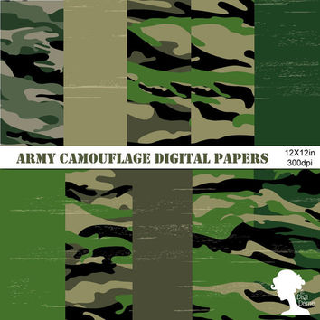 Digital Papers: INSTANT DOWNLOAD Military Camouflage Green for Scrapbooking