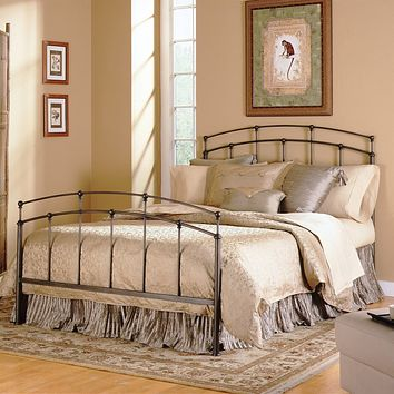 King size Metal Bed with Headboard and Footboard in Black Walnut Finish