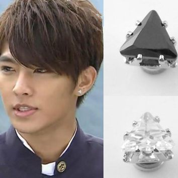 6MM magnet men stud earrings Hip hop Black fashion CZ magnet triangle earrings clip without piercing ear wrap