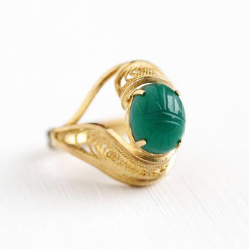 Vintage Scarab Ring - 12k Yellow Gold Filled Carved Green Chalcedony Beetle - Retro Adjustable Egyptian Revival Filigree Statement Jewelry