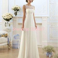 Vestido De Noiva 2016 New Stock US Size 2-22 White/Ivory Appliques Pearls Chiffon Lace A-Line Wedding Dress Wedding Gowns