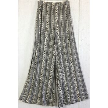 Love & Evol Aztec Palazzo Pants Cream Black Tribal Western Wide Flare Pocket S