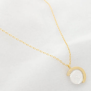 Mini Globe Necklace in Silver and Gold, Cute Necklace, Brass Necklace, Korean Jewelry, Simple Necklace