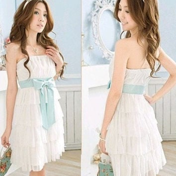 2013 summer Women's sweet all-match puff skirt tube top layered dress chiffon sleeveless one-piece dress = 1958332100
