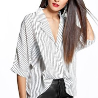 Lily Striped Rever Collar Shirt