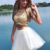 Two Piece Homecoming Dress, White Gold Homecoming Dress Fast Free Shipping