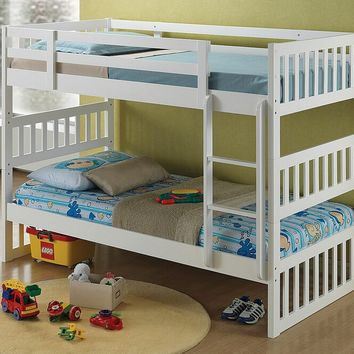 Cutie collection white finish wood twin over twin convertible bunk bed set
