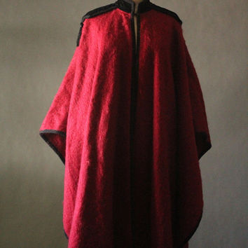 "Vintage 70's ""Russian Collection"" Deep Red Mohair and Velvet with Fringe Tassel Opera Cape by Yves Saint Laurent Rive Gauche, made in France"