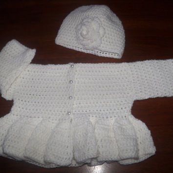 Baby Girl White Sweater and Hat Set Spring Easter 0 - 6 Months