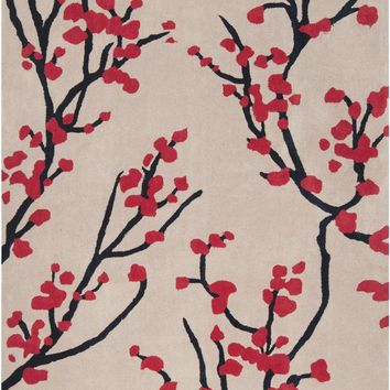 Hudson Park Floral and Paisley Area Rug Red