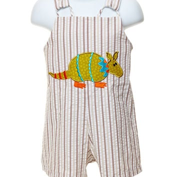 Mulberry Street Baby Boys Short Shortall with Armadillo Appliqué