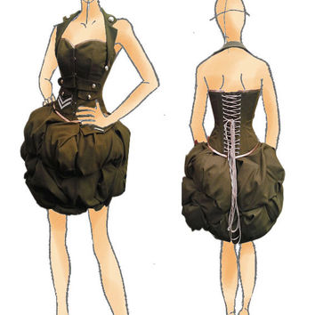 British Military steampunk corset & puff skirt couture costume cosplay. Diesel punk. MADE TO ORDER
