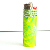 Lighter, Medical Marijuana, Weed Lighter, Custom Green Rhinestone Glitter