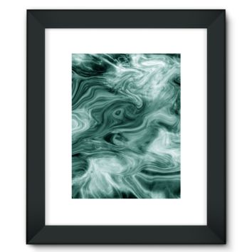 Teal Smoke Fumes Framed Fine Art Print