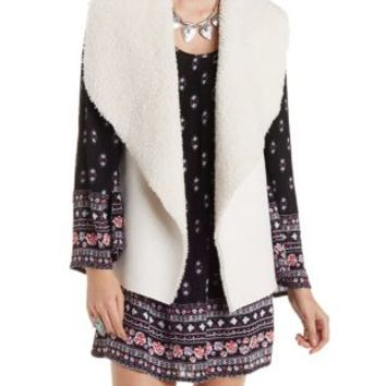 Ivory Faux Suede & Shearling Vest by Charlotte Russe