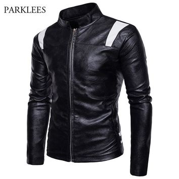 Patchwork Pu Leather Jacket Men 2017 Winter Mandarin Collar Motorcyle Jacket Veste Cuir Homme Zipper Casual Mens Jackets Coats