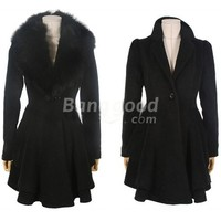 Faux Fur Ruffle Women Coat Outerwear Black Light Grey Free Shipping!  - US$50.30