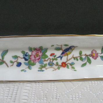 Aynsley Pembroke Fine Bone China Mint Dish Vintage Porcelain Floral with Bird