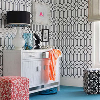 Self adhesive vinyl temporary removable wallpaper, wall decal - Black & white print  pattern - 109