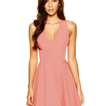 Sleeveless V-neck Cross Back Bow Mini Skater Dress