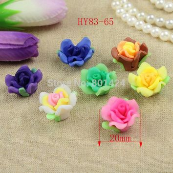 free shipping 25pcs 83-65 mix colour 20mm Fimo flower beads clay flower beads craft accessories for jewelry