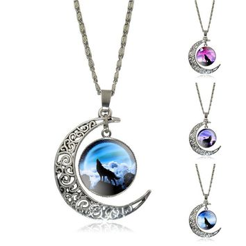 XUSHUI XJ Fashion Silver Crescent Moon Pendant Necklace Howling Wolf Glass Cabochon Chain Necklace Women Friend gift