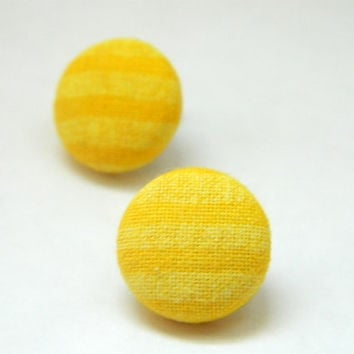 Button Earrings Yellow Stripes Classic by PushTheButtons on Etsy